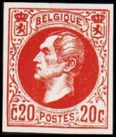 1865. Leopold I. BELGIQUE POSTES. 20 CENTIMES. Essay. Redbrown.    (Michel: ) - JF194543 - Probe- Und Nachdrucke