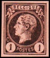 1865-1866. Leopol I. BELGIQUE POSTES 1 CENT Essay. Black On Redorange Paper. (Michel: ) - JF194477 - Probe- Und Nachdrucke