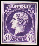1865. Leopold I. BELGIQUE POSTES 40 CENTIMES Essay. Darkviolet.     (Michel: ) - JF194602 - Probe- Und Nachdrucke