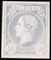 1865. Leopold I. BELGIQUE POSTES 40 CENTIMES Essay. Grayblue.     (Michel: ) - JF194600 - Probe- Und Nachdrucke