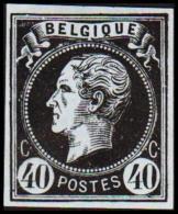1865. Leopold I. BELGIQUE POSTES 40 CENTIMES Essay. Black On Bluish Paper.     (Michel: ) - JF194609 - Probe- Und Nachdrucke
