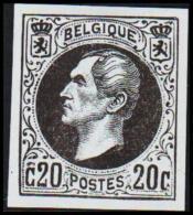1865. Leopold I. BELGIQUE POSTES. 20 CENTIMES. Essay. Black On Bluish Paper. (Michel: ) - JF194537 - Probe- Und Nachdrucke