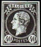 1865. Leopold I. BELGIQUE POSTES 40 CENTIMES Essay. Black On Bluish Paper.     (Michel: ) - JF194608 - Probe- Und Nachdrucke