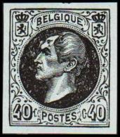 1865. Leopold I. BELGIQUE POSTES 40 CENTIMES Essay. Black On Bluish Paper.     (Michel: ) - JF194612 - Probe- Und Nachdrucke