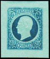 1865. Leopold I. BELGIQUE POSTES. 20 CENTIMES. Essay. Blue On Bluish Paper.      (Michel: ) - JF194550 - Probe- Und Nachdrucke