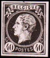 1865. Leopold I. BELGIQUE POSTES 40 CENTIMES Essay. Black On Rosa Paper. (Michel: ) - JF194610 - Probe- Und Nachdrucke