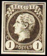 1865-1866. Leopol I. BELGIQUE POSTES 1 CENT Essay. Black On Yellow Paper. (Michel: ) - JF194476 - Probe- Und Nachdrucke