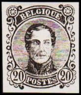 1860. Leopold I. Medailion. 20 CENT Essay. Black. (Michel: ) - JF194378 - Probe- Und Nachdrucke