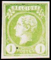 1865-1866. Leopol I. BELGIQUE POSTES 1 CENT Essay. Light Green. (Michel: ) - JF194490 - Probe- Und Nachdrucke