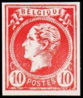 1865-1866. Leopol I. BELGIQUE POSTES 10 CENT Essay. Red. (Michel: ) - JF194494 - Probe- Und Nachdrucke