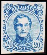1860. Leopold I. Medailion. 20 CENT Essay. Blue. (Michel: ) - JF194380 - Probe- Und Nachdrucke