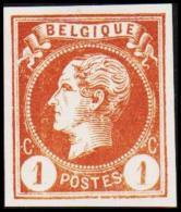 1865-1866. Leopol I. BELGIQUE POSTES 1 CENT Essay. Brown. (Michel: ) - JF194482 - Probe- Und Nachdrucke