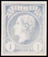 1865-1866. Leopol I. BELGIQUE POSTES 1 CENT Essay. Pale Bluish. (Michel: ) - JF194488 - Probe- Und Nachdrucke