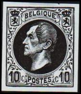 1865-1866. Leopol I. 10 CENTS Essay. Black On Bluish Paper. (Michel: ) - JF194394 - Probe- Und Nachdrucke