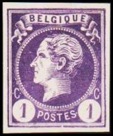 1865-1866. Leopol I. BELGIQUE POSTES 1 CENT Essay. Violet.  (Michel: ) - JF194487 - Probe- Und Nachdrucke
