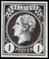 1865-1866. Leopol I. BELGIQUE POSTES 1 CENT Essay. Black On Bluish Paper.  (Michel: ) - JF194485 - Probe- Und Nachdrucke