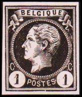 1865-1866. Leopol I. BELGIQUE POSTES 1 CENT Essay. Black On Pale Rosa Paper. (Michel: ) - JF194489 - Probe- Und Nachdrucke