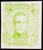 1860. Leopold I. Medailion. 10 CENT Essay. Green. (Michel: ) - JF194375 - Probe- Und Nachdrucke
