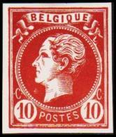1865-1866. Leopol I. BELGIQUE POSTES 10 CENT Essay. Redbrown. (Michel: ) - JF194493 - Probe- Und Nachdrucke