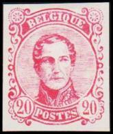 1860. Leopold I. Medailion. 20 CENT Essay. Red. (Michel: ) - JF194377 - Probe- Und Nachdrucke