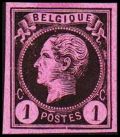1865-1866. Leopol I. BELGIQUE POSTES 1 CENT Essay. Black On Rosa Paper. (Michel: ) - JF194486 - Probe- Und Nachdrucke