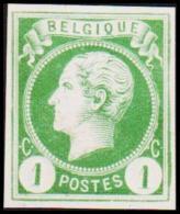 1865-1866. Leopol I. BELGIQUE POSTES 1 CENT Essay. Green. (Michel: ) - JF194491 - Probe- Und Nachdrucke