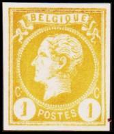 1865-1866. Leopol I. BELGIQUE POSTES 1 CENT Essay. Yellow. (Michel: ) - JF194478 - Probe- Und Nachdrucke