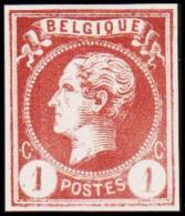 1865-1866. Leopol I. BELGIQUE POSTES 1 CENT Essay. Brown. (Michel: ) - JF194481 - Probe- Und Nachdrucke