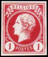 1865-1866. Leopol I. BELGIQUE POSTES 1 CENT Essay. Violet. (Michel: ) - JF194480 - Probe- Und Nachdrucke