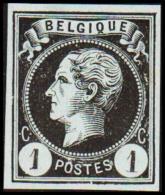 1865-1866. Leopol I. BELGIQUE POSTES 1 CENT Essay. Black On Bluish Paper.  (Michel: ) - JF194484 - Probe- Und Nachdrucke