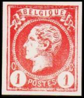 1865-1866. Leopol I. BELGIQUE POSTES 1 CENT Essay. Red. (Michel: ) - JF194479 - Probe- Und Nachdrucke