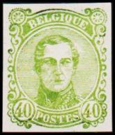 1860. Leopold I. Medailion. 40 CENT Essay. Green.  (Michel: ) - JF194381 - Probe- Und Nachdrucke