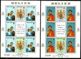 BELIZE WEDDING OF DIANA & CHARLES SET OF3 X 6 EACH 50, 50 CENTS &$1 MINT ON M/S 1981 SG614-6 READ DESCRIPTION !!! - Belize (1973-...)