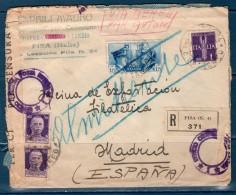 1941 Raccomandata Da PISA Per Madrid - Poststempel