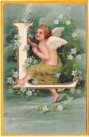 ANGELOT Alphabet - Lettre L- Gaufrée, Relief - 1905 - Anges