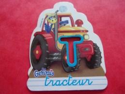 Magnet Danone  Gervais Dinosaure Tracteur Lettre T - Letters & Digits
