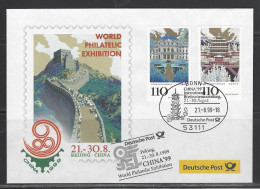 BUND - Sonderbeleg CHINA ´99 Int. Briefmarkenausstellung 21.-30.8.1999 BEIJING - Briefmarkenausstellungen