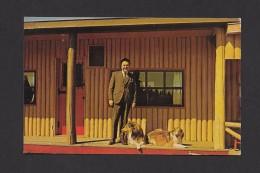 CAPE BRETON - NOVA SCOTIA - ALLAN J. MacEACHEN MINISTER OF LABOUR WITH HIS 2 COLLIE SHEPHERDS AT MOTEL RICHMOND - Cape Breton