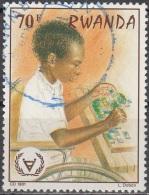 Rwanda 1981 Michel 1149 O Cote (2005) 0.80 Euro Enfant Avec Mosaïque Cachet Rond - Rwanda