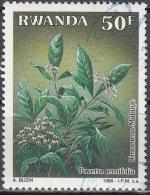Rwanda 1989 Michel 1411 O Cote (2005) 4.60 Euro Plante Pavetta Ternifolia Cachet Rond - Rwanda
