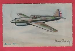 """Avion - Curtiss """" Towawack """", Monoplace De Chasse , Illustré Par André Régnier - 1947 ( Voir Verso ) - 1939-1945: 2ème Guerre"""