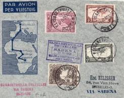 Congo Belge Lettre 1er Vol Pour La Belgique 1935