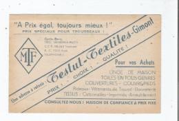 GIMONT (GERS) CARTE DE VISITE ANCIENNE DES ETS TESTUT TEXTILES - Visiting Cards