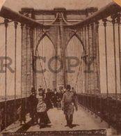 NY Brooklyin Bridge Ca1890 Original Stereoview Photo Card Beauty Series #120 - Fotos