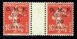 CILICIE 1920   Semeuse 10 Cent Surcharge Grasse  «O.M.F. Cilicie 20 Paras » Paire Avec Pont  Yv  91 * MH - Neufs