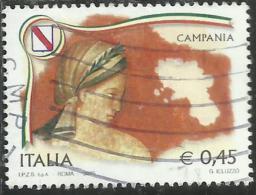 ITALIA REPUBBLICA ITALY REPUBLIC 2005 LE REGIONI CAMPANIA USATO USED OBLITERE´ - 2001-10: Used