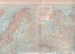 1896 - CARTE PHYSIQUE DE LA RUSSIE / DES ETATS SCANDINAVES DANEMARK SUEDE NORVEGE ISLANDE ILES FOEROË - PRODUCTIONS - Geographical Maps