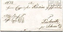 L050  Breslau   Stadt Post Exp2 Cachet 3 Lignes Encadrées 1866 Avec Texte Pour Pawlowitz - [1] Prephilately