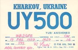 Amateur Radio QSL Card - UY5OO - Kharkov, Ukraine USSR - 1977 - Radio Amateur