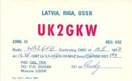 Amateur Radio QSL Card - UK2GKW - Latvia, Riga, USSR - 1977 - Radio Amateur